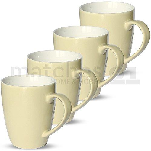 matches21 Tassen Becher Unifarben / einfarbig Set Kaffeetassen Kaffeebecher cremefarben / beige...
