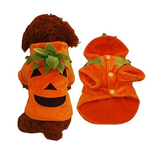 Le yi Wang You Halloween-Kürbis-Kostüm für Hunde und Welpen, warm, mit Kapuze, für den Winter