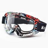 WOLFBIKE Occhiali da Sci Moto, Uomo Donna Maschera da Snowboard con UV400 Protezione Antivento Neve Specchio Goggles (Cornice Colorata/Lente Trasparente)
