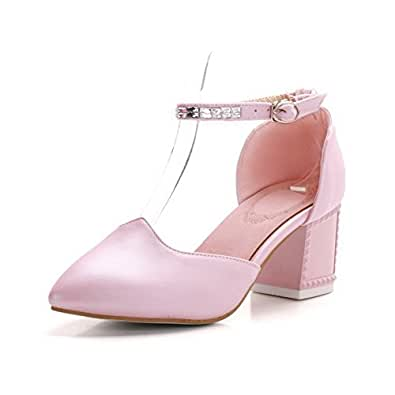 AllhqFashion Women's Buckle Pointed Closed Toe Kitten Heels Pu Solid Pumps Shoes, Pink, 33