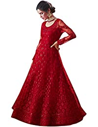 Fancy Lifestyle Net With Soft Silk Inner Semi-Stitched Designer Gown Material for women (Red)