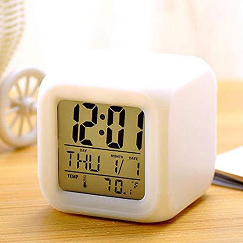 Yukio HomeFun-LED würfelwecker, Würfel Uhr Wecker mit 7 LED Farbwechsel, LCD Display Kalender, Wecker, Thermometer, Alarm Funktion, sehr stylisch