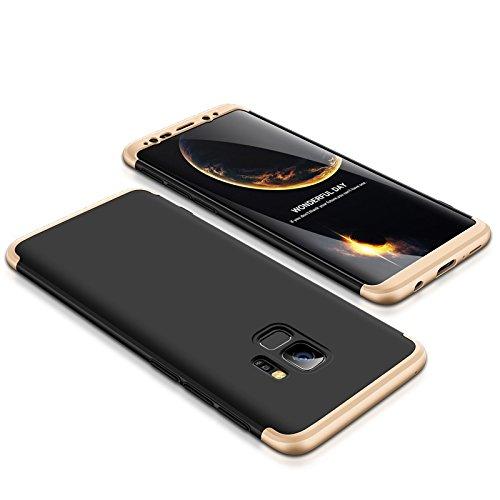 Shinyzone Hülle für Samsung Galaxy S9 360 Grad voller Schutz 3 in 1,Ultra dünn Harte PC Stoßfest Kratzfest Leicht Handyhülle für Samsung Galaxy S9,Gold Schwarz (Leichter Kunststoff Schwarz)
