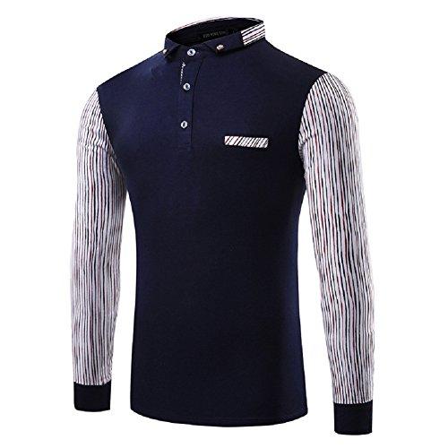 BOMOVO Herren Rundhals-Ausschnitt T-Shirt Spleiß Langarm Shirt Slim Fit dark blau