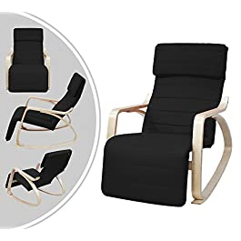 Leogreen – Rocking Chair , Fauteuil a Bascule, Noir, avec repose-pied, Coussin 100% coton, Materiau du coussin: Coton…
