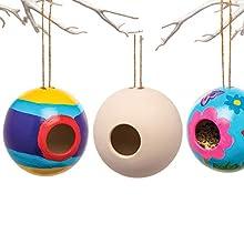 Baker Ross Runde Keramik-Vogelhäuschen (2 Stück) – Frühlings-Bastelidee für Kinder zum Verzieren und Gestalten