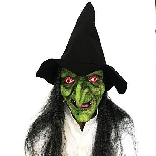 SCLMJ Halloween Maske Maske Horror Lange Haare Hexe Mit Hut Latex Maske (Hexe Bemalen Für Gesicht Halloween)