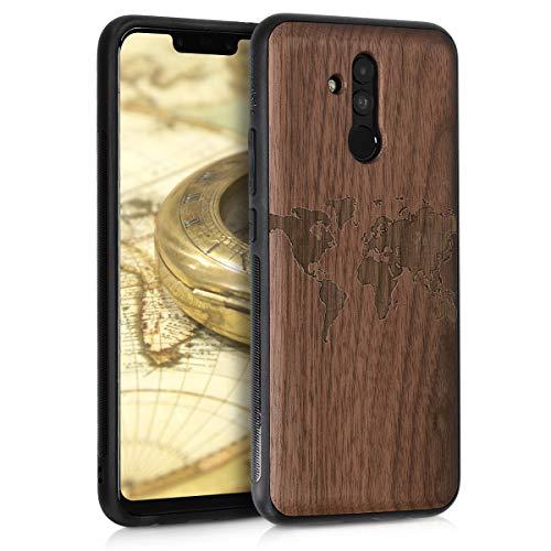 kwmobile Holz Schutzhülle für Huawei Mate 20 Lite - Hardcase Hülle mit TPU Bumper Walnussholz in Weltkarte Umriss Design Dunkelbraun - Handy Case Cover