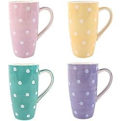 Tazas Pastel Lunares Splodge Tall Latte tazas conjunto de 4