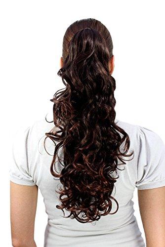 Haarteil, lang, gelockt, natürlicher Braun-Mix (C-128-2T33)