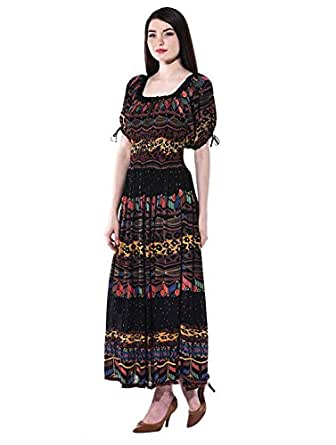 The Jaipur Bazar Women's Rayon Stitched Maxi Dress (Black_Free Size) Dress Material at amazon