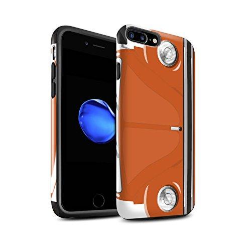 STUFF4 Glanz Harten Stoßfest Hülle / Case für Apple iPhone 8 Plus / Leuchtend Orange Muster / Retro Beetle Kollektion Leuchtend Orange