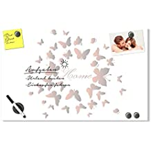 Graz Design® Magnettafel Glasmagnettafel Wandtafel für Flur Spruch Home Schmetterlinge (60x40cm // Sicherheitsglas + 6 Magnete + 2 Stifte)