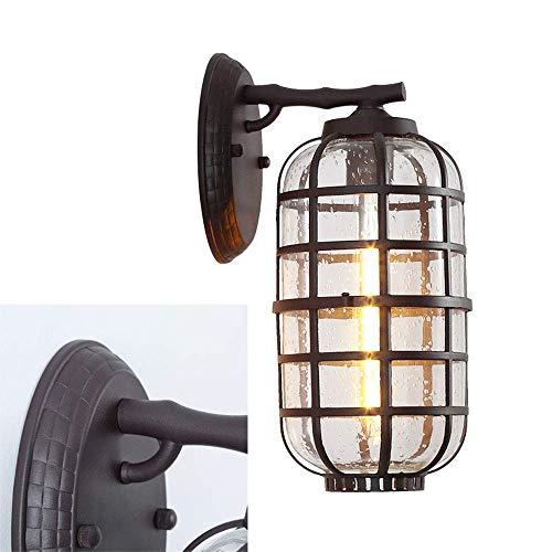 Antike Kerze Laterne (Vintage E27 Wandlampe Aussen Antike Wandleuchte Aluminium und Blase-Glas Schirm Fassadenlampe Hoflampe Wasserdichte Außenleuchten Treppen Eingang Laterne)