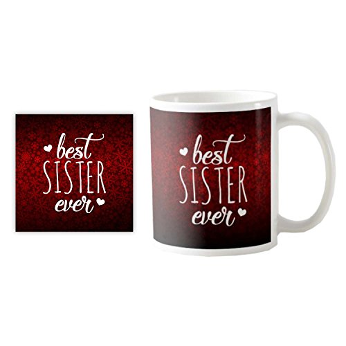 TYYC Bhai Dooj Diwali Gifts for Sister, Best Sister Ever Coffee Mug with Coaster set of 2  available at amazon for Rs.299
