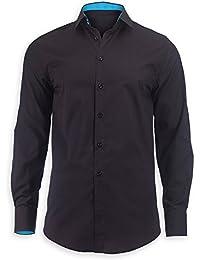 Alexandra STC-NM521BPK-L Men's Roll Up Sleeve Shirt, Plain, Size: L, Black/Peacock