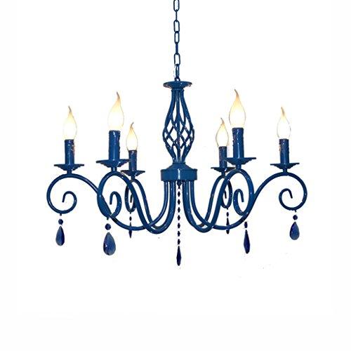 Best wishes shop lampadario- Lampadari in cristallo blu stile mediterraneo soggiorno sala da pranzo camera da letto europeo lampadari in ferro luci E14
