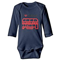 HouyunCC I Love London Soft Cotton Long Sleeve Unisex Baby Bodysuit Baby Onesies Navy