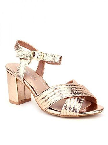 Cendriyon, Sandale brillante Champagne color KIOS Chaussures Femme Corail