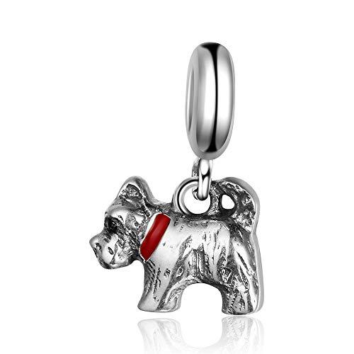Lovely Dog Perlen Baumeln Charm Authentic 925Sterling Silber für Pandora & alle europäischen Charm-Armbänder und Ketten