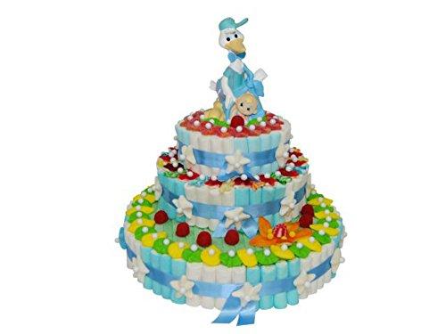 Original Tarta Decorativa de Golosinas Surtidas 'Figura Niño Bautizo' 3 Bases. Juguetes y Regalos Baratos para Fiestas de Cumpleaños, Bodas, Bautizos, Comuniones y Eventos.