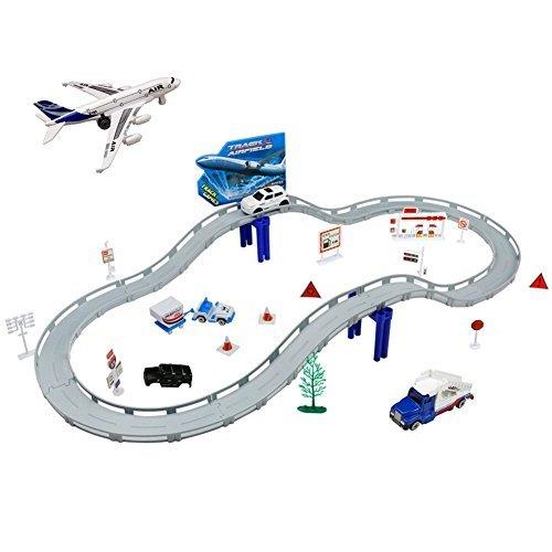 Circuit de Voiture Aéroport Playset Voiture Avion Miniature Ensemble Jouet Véhicules Pour Enfants