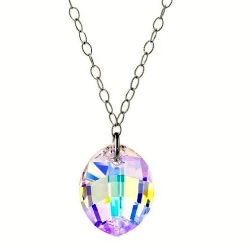 IJEWELRY2arcobaleno Swarovski multi color cristallo ovale marquise sfaccettato collana a catena in argento Sterling