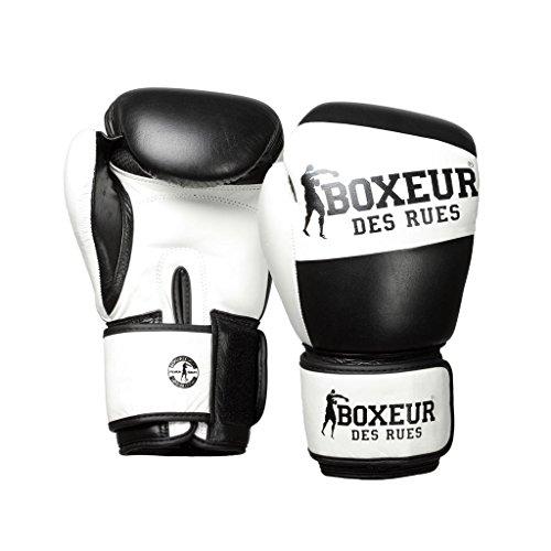 BOXEUR DES RUES Unisex- Erwachsene BXT-591 Premium-Boxhandschuh aus Leder, Schwarz, 12OZ