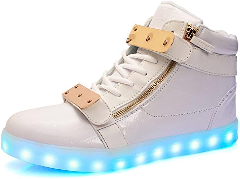 Los Amantes de la Primavera de Cuero iluminan los Zapatos Comfort Sneakers Walking Shoes LED Gancho y Bucle para