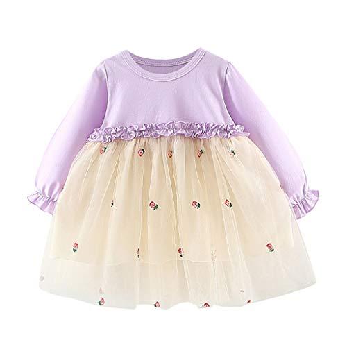 LEXUPE Baby Mädchen Kleid Blumen Spitze Tüll Taufkleid Kinder Hochzeits Festlich Kleider(Lila,90)