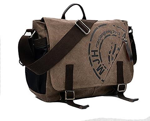 E-Bestar sac bandouliere homme sac en toile sac epaule sac fourre tout sac loisir sac business sac tablette sac appareil photo (Café)