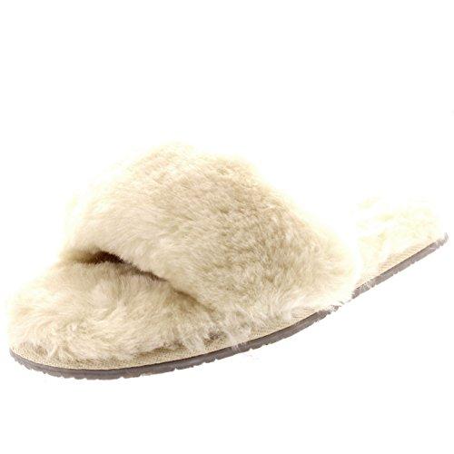 Polar Damen Echten Australischen Schaffell Mules Offener Zeh Pelz Luxury Pantoffeln Beige