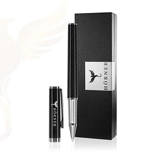 HÖRNER MATURELLO - Hochwertiger Carbon Tintenroller I Schwarz aus Metall I In edler Geschenkbox I Schreibfarbe blau