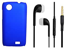 XUWAP Hard Case Cover With 3.5mm Stereo Earphones For Lenovo A369i - Blue