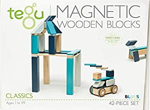 Tegu Juego de Bloques de Construcción de madera magnéticos de 42 piezas - Blues