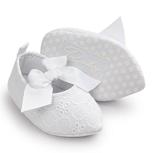 Jamicy® Baby Mädchen Schuhe niedlich Bowknot weiche Sohle Princess Soft Wohnungen Weiß