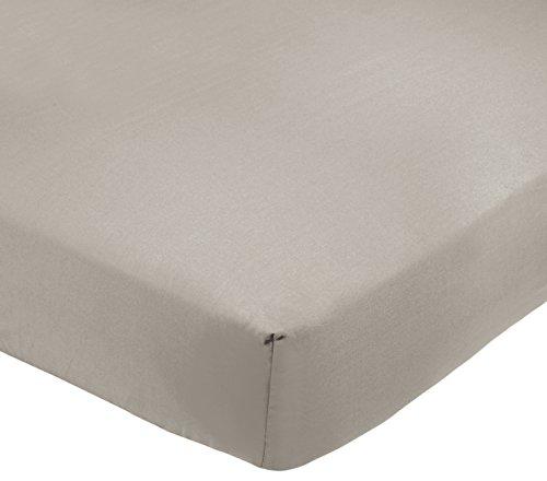 AmazonBasics - Sábana bajera ajustable (polialgodón 200 hilos) Gris - 160 x 200 x 30 cm