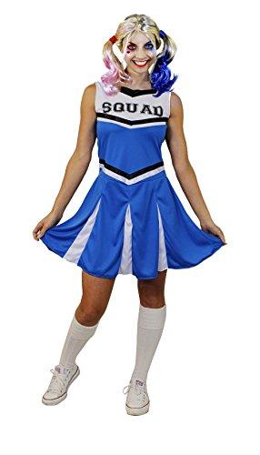 ILOVEFANCYDRESS SEXY Cheerleader KOSTÜM+PERÜCKE=Party+Film-FERNSEH VERKLEIDUNGEN=SUPER GANOVEN-SUPERHELDEN VERKLEIDUNG=IN 6 Farben+6 GRÖSSEN+Aufschrift Squad+PERÜCKE= BLAU/ ()