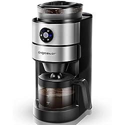Aigostar Kaffa 30LHX - Cafetière avec moulin à café intégré et filtre, 680-820W, 800m. Maintien au chaud par PTC pendant 35 minutes, anti-égouttement et arrêt automatique. Sans BPA.