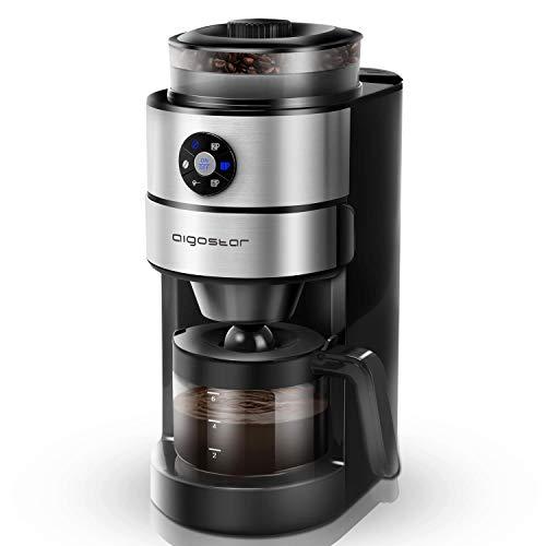 Aigostar Kaffa 30LHX - Cafetera eléctrica con molinillo integrado, 2 en 1. Sistema de goteo, 680-820 W, capacidad 2-6 tazas, 5 niveles de molienda. Función mantener caliente. Libre de BPA.