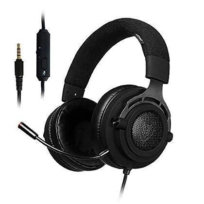 PS4 Gaming Auriculares para Juegos de PC con Micrófono, NUBWO Auriculares Estéreo de 3,5 mm de Volumen de Micrófono para Xbox One, Mac PlayStation 4 (N9D 3,5mm - Negro)