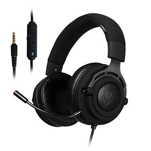 Preisvergleich Produktbild Stoff PS4 Gaming Headset mit Breathing Stirnband,  5.25ft Draht,  3, 5 mm Mic Lautstärkeregler,  Xbox One PC Stereo Kopfhörer,  Inline-Rauschunterdrückung für PC,  Laptop,  Mac,  Nintendo Switch