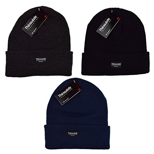 BoysGirls-Kids-Childrens-Knitted-40gram-Thinsulate-Lining-Thermal-Winter-Beanie-Hat