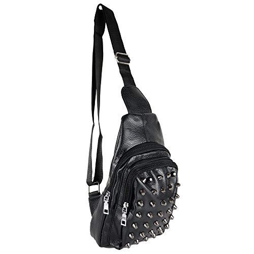 Zaino monospalla con borchie da uomo viaggio ragazzo borsa tracolla zainetto borsello borchiato piccolo portadocumenti Nero