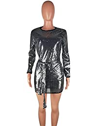 6787416fd1 Betty-Boutique Silver Sequin Long Sleeved Club Wear Dress Size 10-12 MT685
