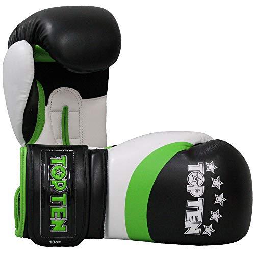 TOP Ten Boxhandschuhe, Stripe, schwarz-grün Größe 10 Oz