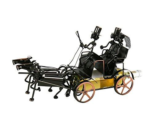 Kutsche mit 2 Pferden Flaschenhalter Metall Weinflaschenhalter Sekthalter Reiter