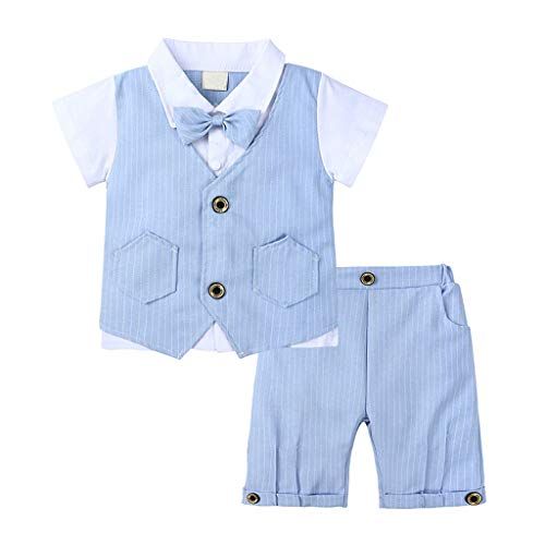 Creeper Kostüm Haut - Alwayswin Kinder Jungen Sommer Kleidung Set Gentleman Party Outfits Einfarbig Kurzarm T-Shirt Plaid Gestreifte Weste Shorts Outfit Elegant Festliches Kostüm Mode Kinder Kleidung