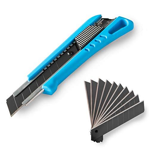 Cuttermesser inkl. 13 Abbrechklingen | gummierter Griff | schwarze Klinge 18 mm | Klingenmagazin | Teppichmesser, Cutter, Universalmesser (Blau)