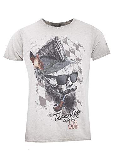 Hangowear Herren Trachten-Mode Trachtenshirt Franzl in Beige traditionell, Größe:XL, Farbe:Beige